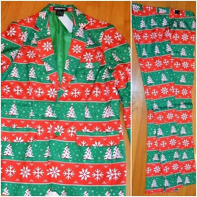 Nwt Suitmeister 3 Pc Set Christmas Tree Suit Ugly Christmas Holidays Men's M-2Xl