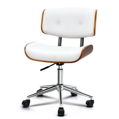 Artiss Executive Wooden Office Chair Leather Computer Chairs Seat Bentwood White