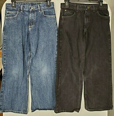 Wrangler Boys Husky Wide Leg Denim Jeans size 12 color Black & Blue Wash Lot 2