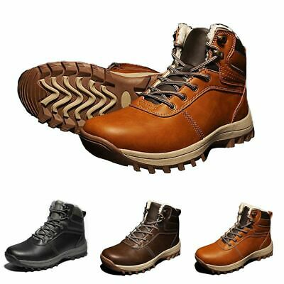 Mens Waterproof Snow Winter Thick Warm Boots Fur Lined Hiking Outdoor Shoes