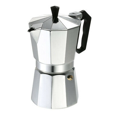 Stovetop Espresso Maker Coffee Pot Polished Silver Aluminum Octagon Shape BE