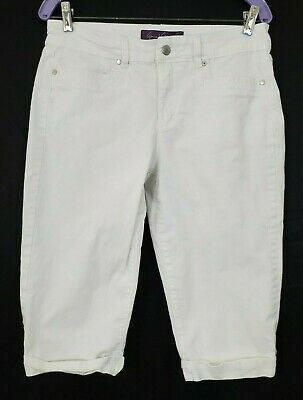 GLORIA VANDERBILT Women's White Pants Size 6 Skimmer Capri Stretch
