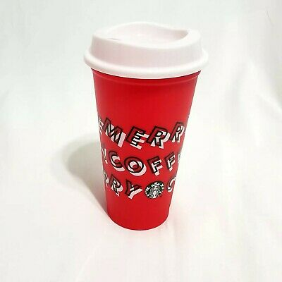 Starbucks 2019 Holiday Reusable Merry Coffee Cup Red Plastic Hot Cold Grande16oz