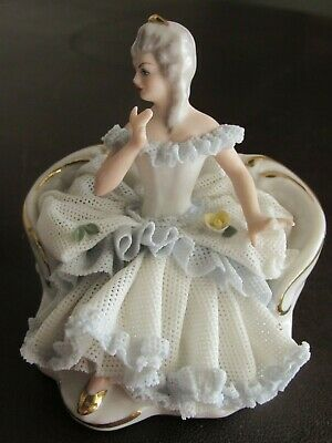 Antique Dresden Lace Porcelain Figurine Seated Lady-Crown Mark-Small-Mini-?
