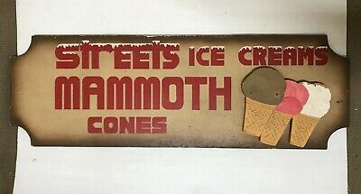 Streets Ice Cream Rare One Off Drive In Movie Kiosk Wood Sign Mammoth Cones