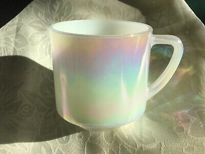 Fire King Mother Of Pearl Lustre Ware Rainbow 1 Creamer 5 Cups & 1 Dish