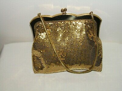 Oroton gold mesh evening bag with snake chain strap