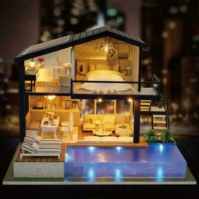 Surprise DOLL HOUSE Made with Real Wood - Furniture Diy kids House Gift Y0O1