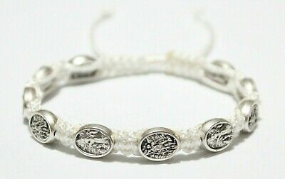 St. Michael the Archangel and the Guardian Angel Medal on White Cord Bracelet