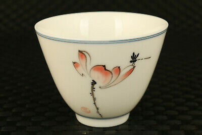 porcelain hand painting dragonfly lotus statue collectable wine tea cup