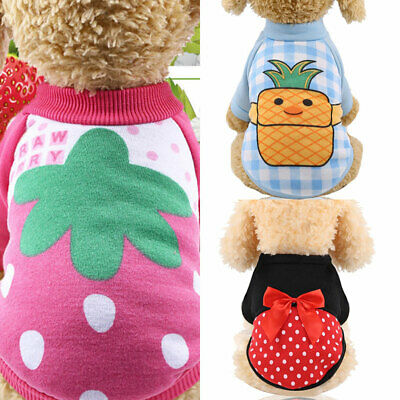 Pet Dog Cat Clothes Autumn Winter Warm Sweaters Fruit Printed Fashion Pullovers