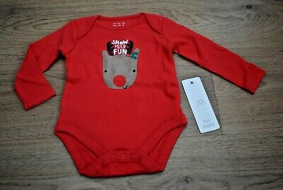 Bnwt Baby Boys Or Girls Age 6-9 Months Christmas Long Sleeve Vest Top Reindeer