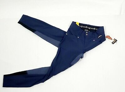 NWT Kerrits Equestrian Riding Pants Crossover Full Seat Breech Navy Blue Small