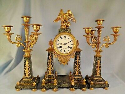 Fine Quality French Ormolu/Green & Black Marble Garniture Set.
