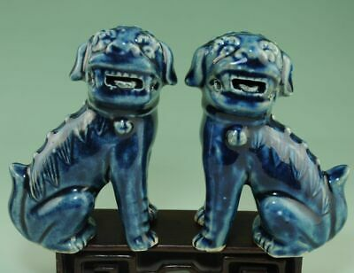 pair china old Blue and white porcelain handmade lion porcelain statue Ab02J