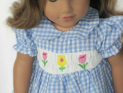Doll Clothes 18 Inch Dress Blue Plaid Smocked Floral For American Girl Dolls