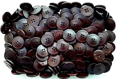 15mm 18mm 23mm Dark Chocolate Brown Leather Effect 4 Hole Buttons Q2A Q2B Q2C