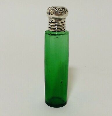 Antique Edwardian Green Glass Scent Bottle Solid Sterling Silver Top 1904