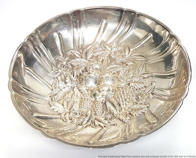 Vintage S Kirk Son Sterling Silver Repousse Footed Candy Nut Dish Bowl 4.81ozt