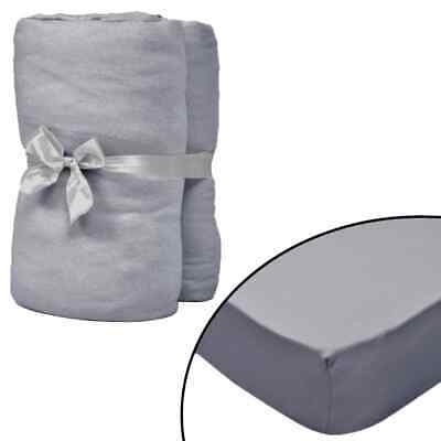vidaXL 4x Fitted Sheets for Cots Cotton Jersey 70x140cm Grey Mattress Cover#