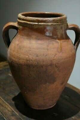 "Antique French? Olive Jar Terracotta Clay Vessel 13.5"" tall"