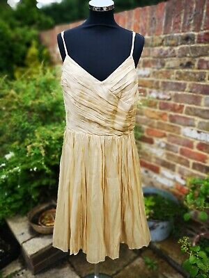M&S Autograph Gold Party Prom Wedding Occasion Lined Dress. Nwt Size 16