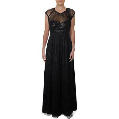 Adrianna Papell Womens Chantilly Black Lace Evening Dress Gown 4 BHFO 2275