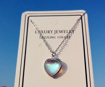 Heart Moonstone Pendant 925 Sterling Silver Chain Necklace Womens Jewellery Gift