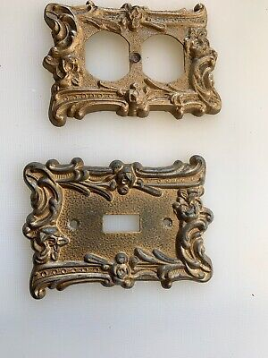 2-Vintage EDMAR antique brass HOLLYWOOD REGENCY Covers 1 Switch, 1 Outlet