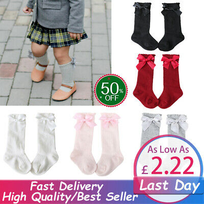 Girls Baby Toddlers Frilly Vintage Knee High Socks Bow School Stockings Cotton