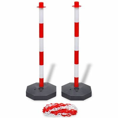 vidaXL Chain Post Set 10m Plastic Traffic Guard Safety Warning Sign Barrier~