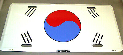 Novelty metal License Plate, embossed style South Korea Flag, 12 x 6 plate, NEW