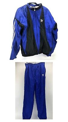 Vintage ADIDAS Track Nylon Suit Black & Blue Pants And Zip Up Jacket Men Medium