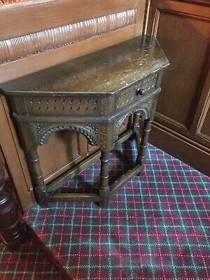 Unusual Gothic Oak Small Console Table