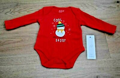 Bnwt Baby Boys Or Girls Age 0-3 Months Snowman Christmas Long Sleeve Vest Top