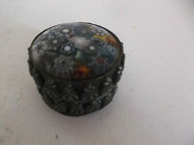 Vintage Small Trinket Snuff Pill Box With Enamel Lid