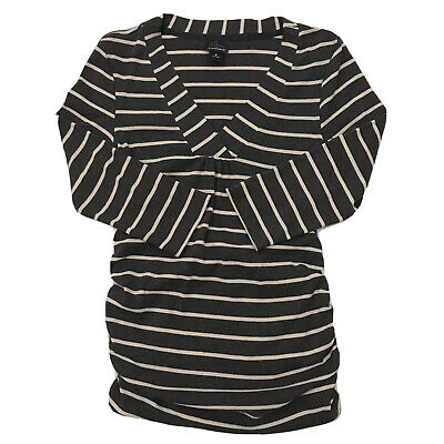 Oh Baby Motherhood Women's Maternity Top 3/4 Sleeve Gray Striped Size Small