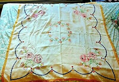 """Vintage Hand Embroidered Tablecloth Large 44"""" Square Multi Color Flowers"""