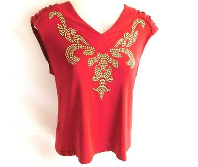 ny Collection Womens Embellished Pullover Top Small Red Gold Sleeveless
