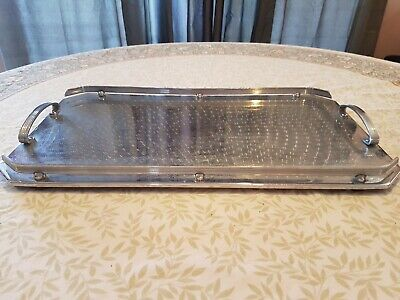 Ranleigh Art Deco Stainless Drink Serving Tray Breakfast Tray WOOD BASE vgc
