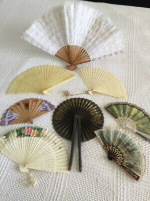 7 Ladies Hand Fans Collection- Antique,Vintage & Lace One Free