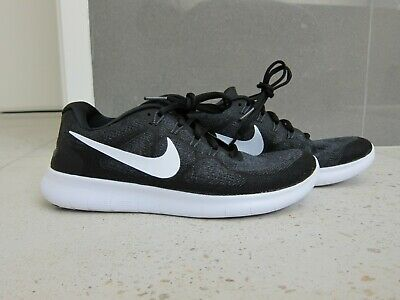 Womens NIKE FREE RN Flyknit Running Shoes - Black/Charcoal/White RRP $180