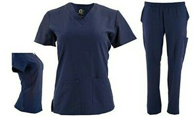 DSF Women's Four Stretch V-Neck Mesh Panel Scrub Set Top Cargo Pants