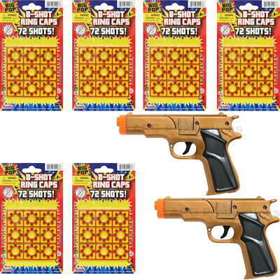 Super Bang Ring CAPS 6 Packs + 2 Cap Gun Toys Colt 45 - 8 Shots FIRES 432 shots