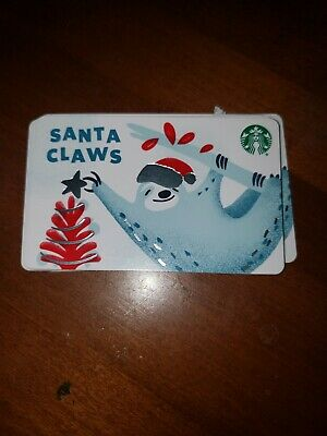 New Release 2019 Winter Holiday 'Santa Claws' Starbucks Gift Card No Cash Value