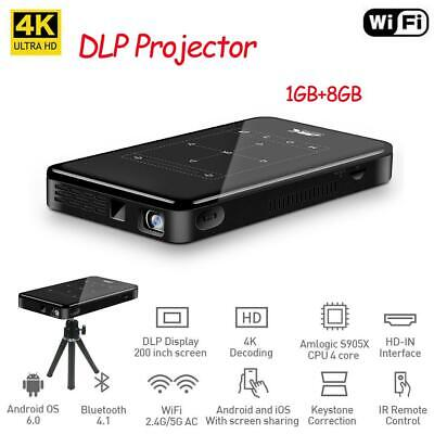 8GB Mini DLP Projector 4K Android Portable Video Beamer Home Cinema Wifi BT HDMI