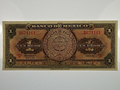 Mexico 1961 One Peso Banknote in Uncirculated Condition