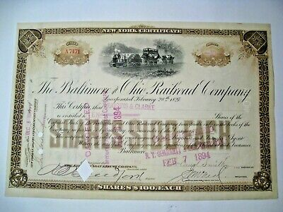 1894 Baltimore & Ohio Railroad Company Stock Certificado