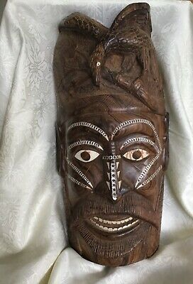 Vintage Large Hand Carved Wooden Mask Papua New Guinea? Shell Eyes