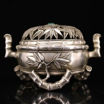 Beautiful Old Silver Handwork Carved bamboo statue Incense Burner daqing Make